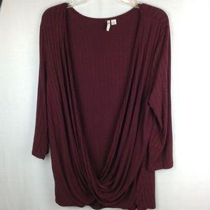 Cato Size L Tunic 3/4 Sleeve Burgundy